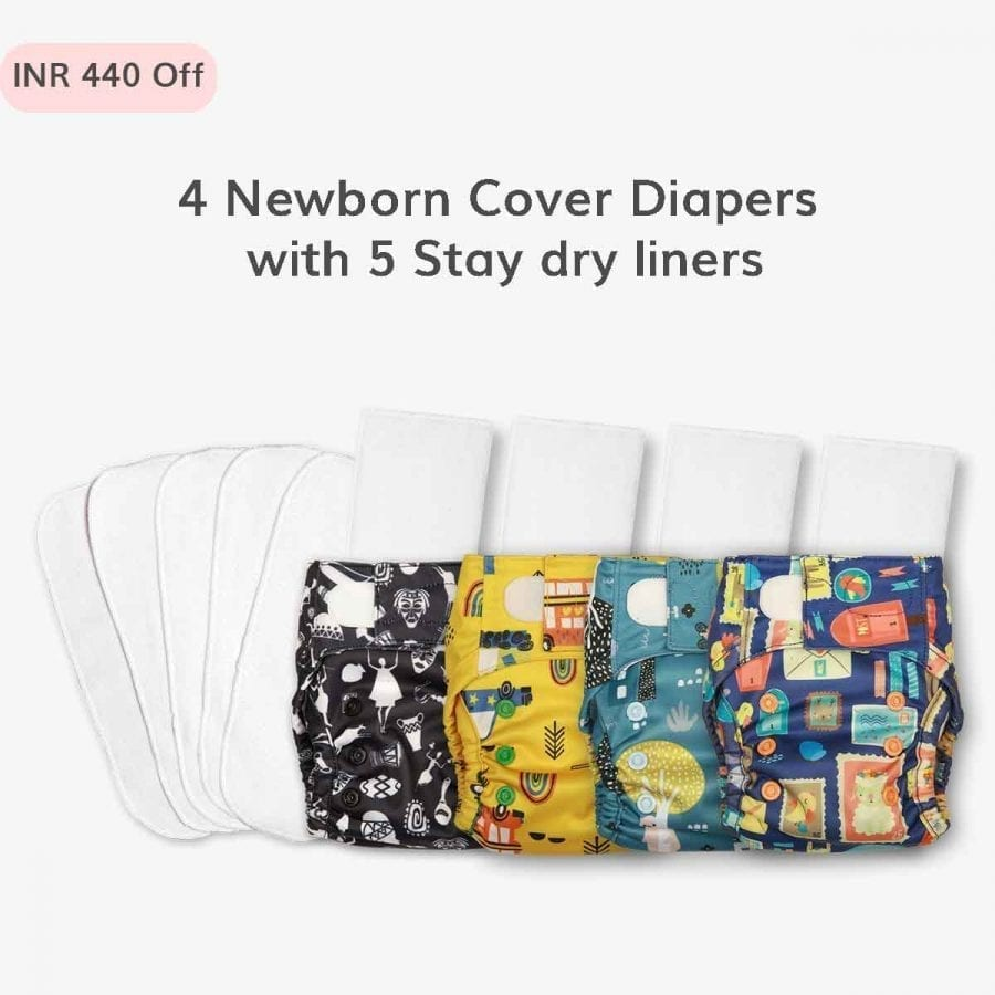 Just Bumm Newborn Diaper Cover with Pads Combo Packs
