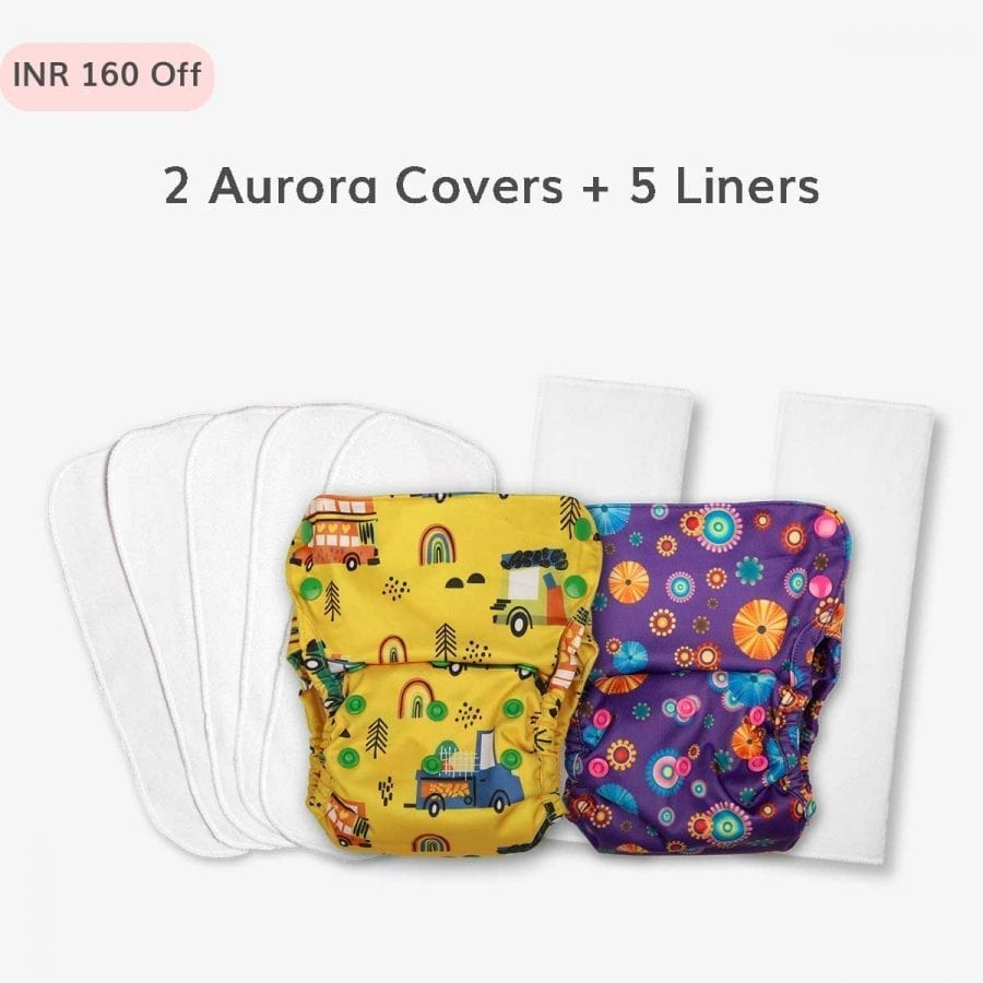 Just Bumm Aurora Cover Diapers Combo - 2 diapers with liners