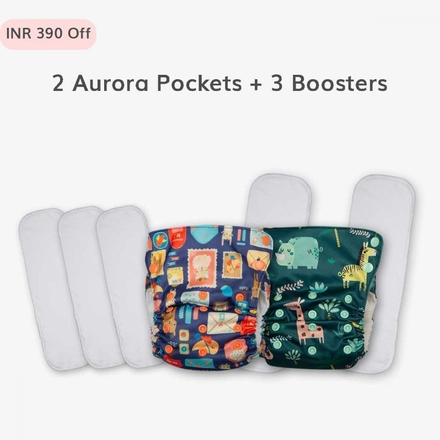 2 Just Bumm Aurora Pocket diapers and 3 Booster pads