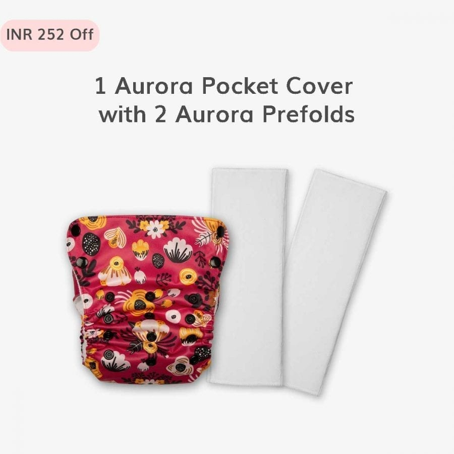 1 Aurora Pocket outer cover with 2 Prefolds