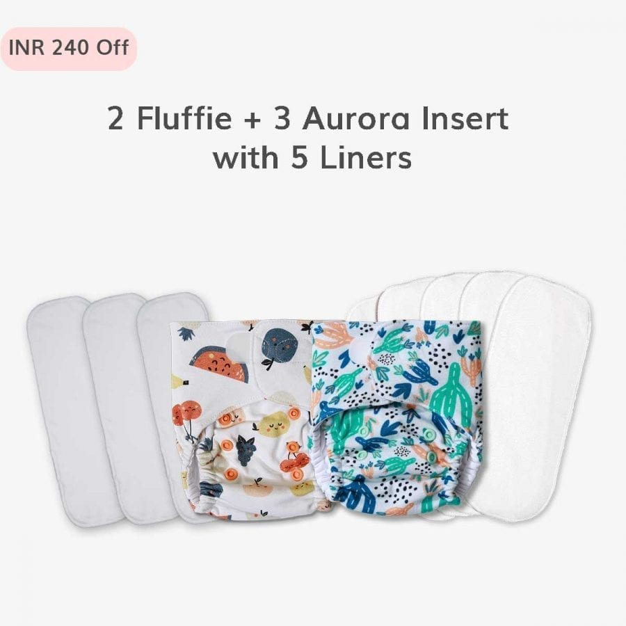 2 Fluffie with Organic Cotton Pads and Liners
